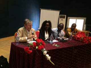 Dr Alan Channer, Director and Producer of 'Chad - A Journey to Hope'Alice Kidana Gali, Deputy Director of Communications, National Assembly of ChadDomga Amadou, President of the IofC Association of ChadAdalbert Otou-Nguini, President of the IofC Association of Cameroon