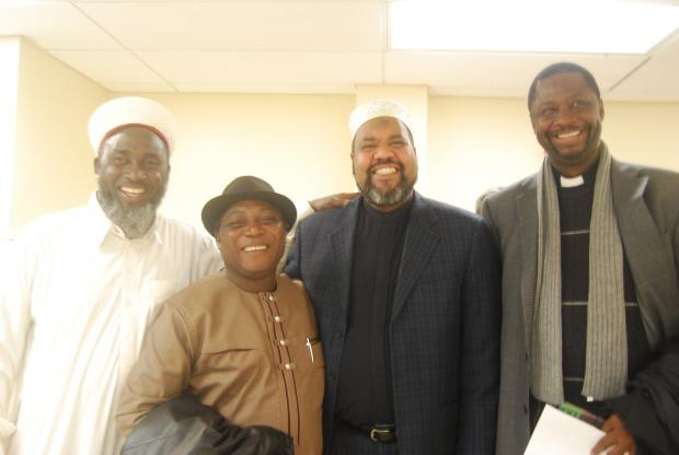 Imam Magid, of ADAMS mosque, with Fr Clement Aapengnuo from Ghana and Pastor James and Imam Ashafa