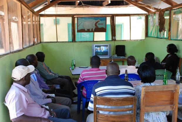 A showing of An African Answer for community leaders in the town of Marigat