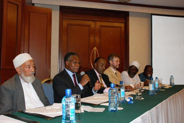 High table at the Nairobi launch: Professor Alghafur Elbusaidy, President of the Supreme Council of Kenyan Muslims; Rev Dr Sam Kobia, Special Ecumenical Envoy to Sudan for the All Africa Conference of Churches; Francis Kimemia, Permanent Secretary for Provincial Administration and Internal Security, Government of Kenya; Dr