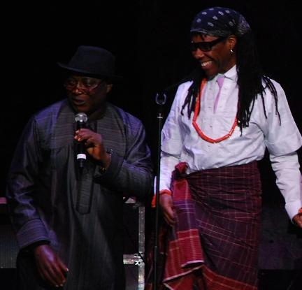 Pastor James Wuye and Nile Rodgers at the We Are Family Foundation 10th anniversary award ceremony