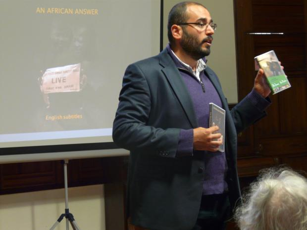 Dr Imad Karam speaking at the screening of An African Answer in Cumbria