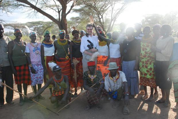 A Turkana community welcomes Alan Channer, director of An African Answer