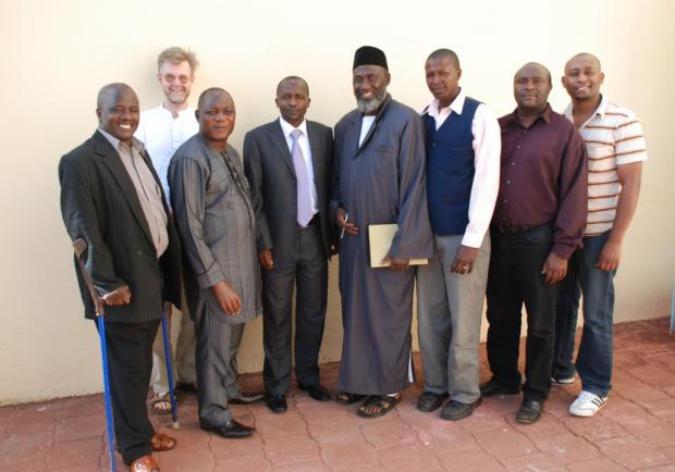 Pastor James Wuye, Imam Muhammad Ashafa and the USIP project team with Deputy Governor of Baringo Mathew Tuitoek (centre) and Chair of Together Development Programme Kenya Paul Keitany (far left)