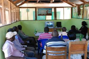 A showing of An African Answer for community leaders in the town of Marigat (Photo: Alan Channer)