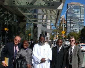 The launch team for 'An African Answer' outside the United Nations. Charles Aquilina (IofC programme co-ordinator), Pastor James Wuye, Imam Muhammad Ashafa, Joseph Karanja (film production consultant) and Dr Alan Channer (film director) (Photo: Alan Channer)