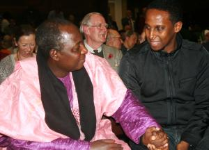 Pastor James Wuye talks with member of the audience (Photo: Louise Jefferson)