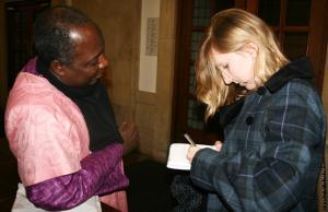 Journalist Francesca Holloway interviews Pastor James Wuye (Photo: Louise Jefferson)