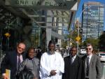 The launch team for 'An African Answer' outside the United Nations. Charles Aquilina (IofC programme co-ordinator), Pastor James Wuye, Imam Muhammad Ashafa, Joseph Karanja (film production consultant) and Dr Alan Channer (film director) (Photo: Alan Channer)|