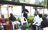 The Chaplain to the Kenya Defence Forces, Rt Revd Bishop Alfred Rotich, and Pastor James Wuye interact in group discussion.